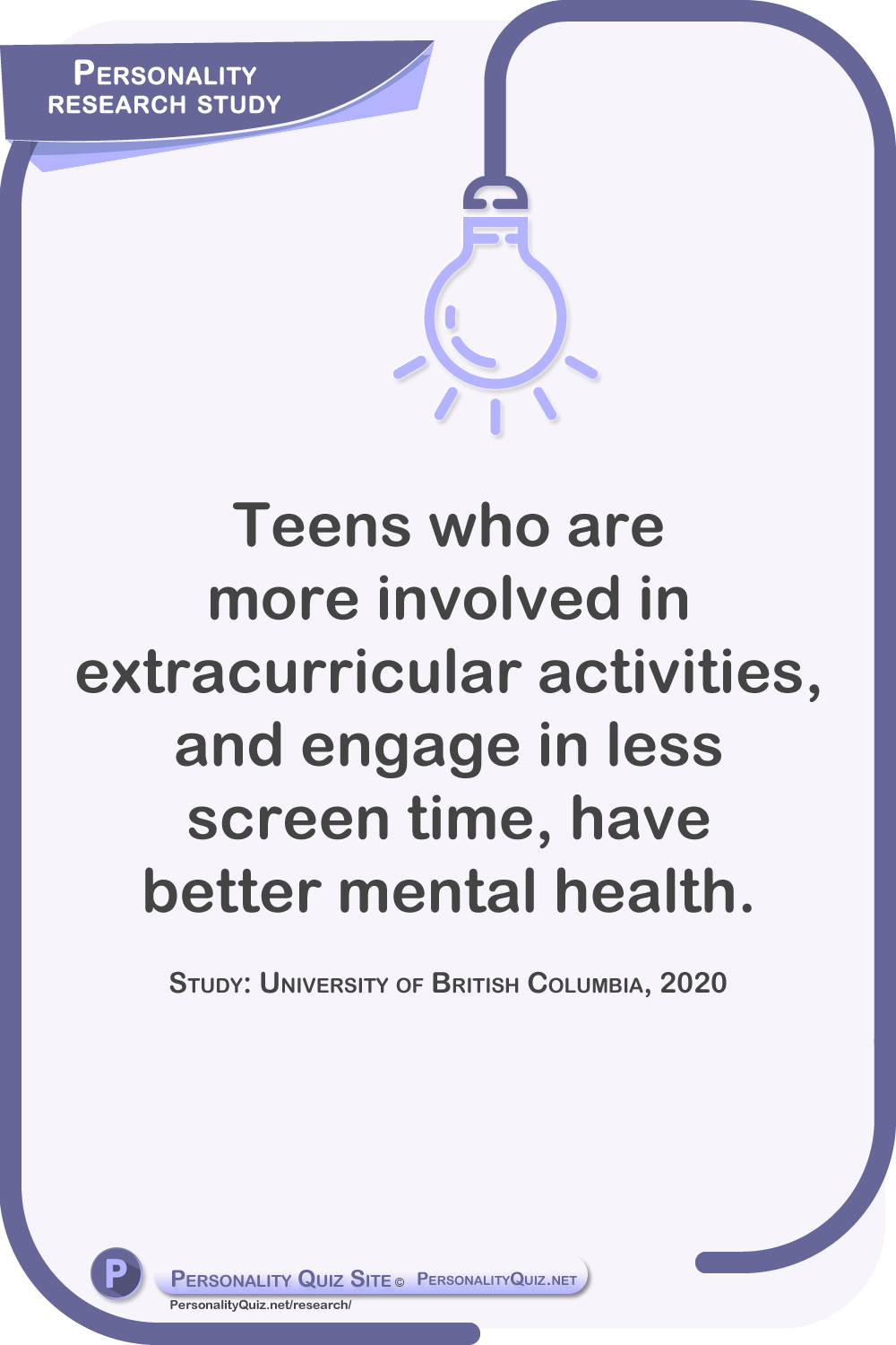 Teens who are more involved in extracurricular activities, and engage in less screen time, have better mental health. Study: University of British Columbia, 2020